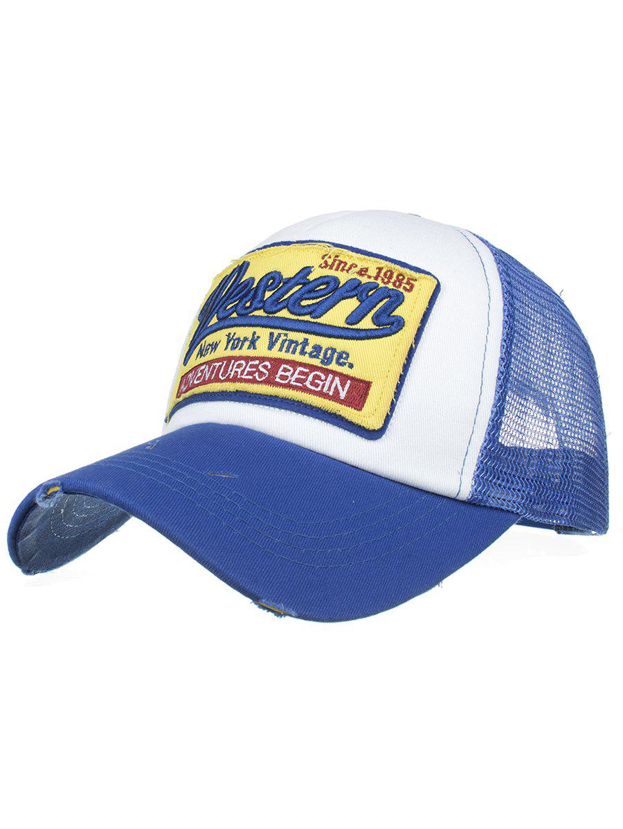 Letter Embroidery Adjustable Mesh Sunscreen Hat - BLUE