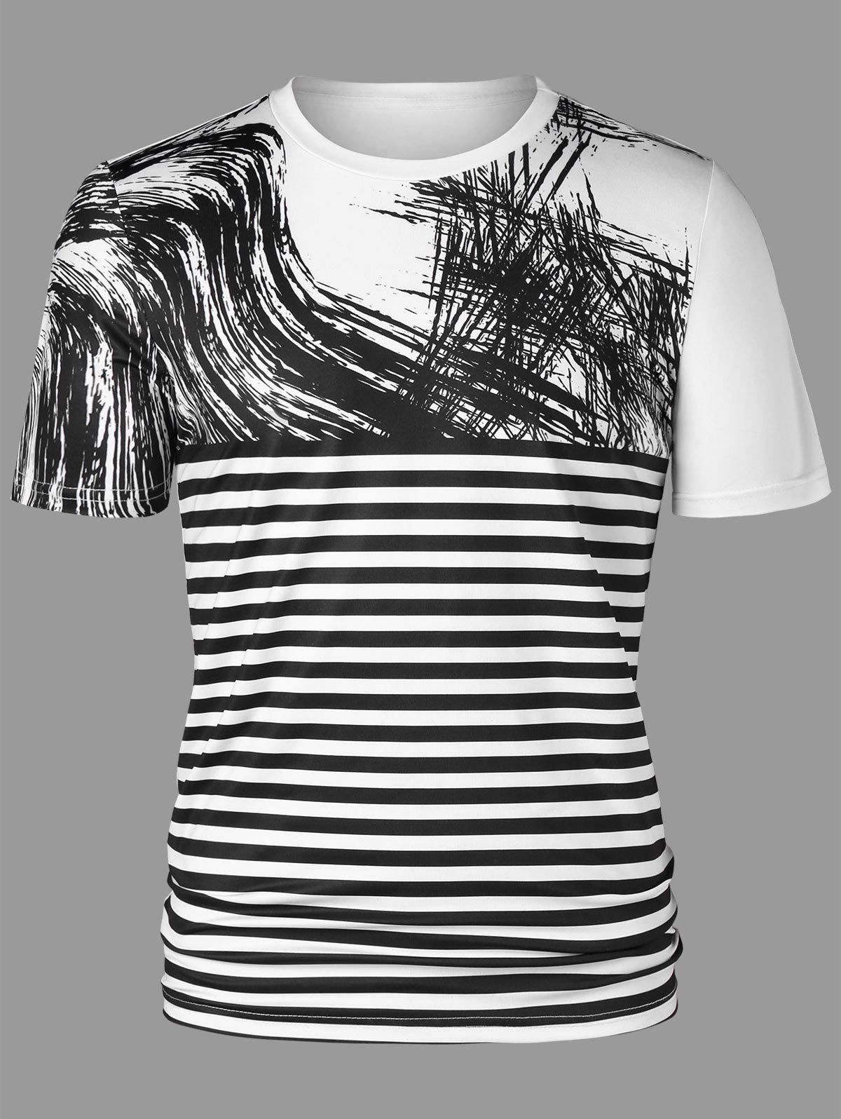 Two Tone Striped Short Sleeve Tee - WHITE/BLACK XL