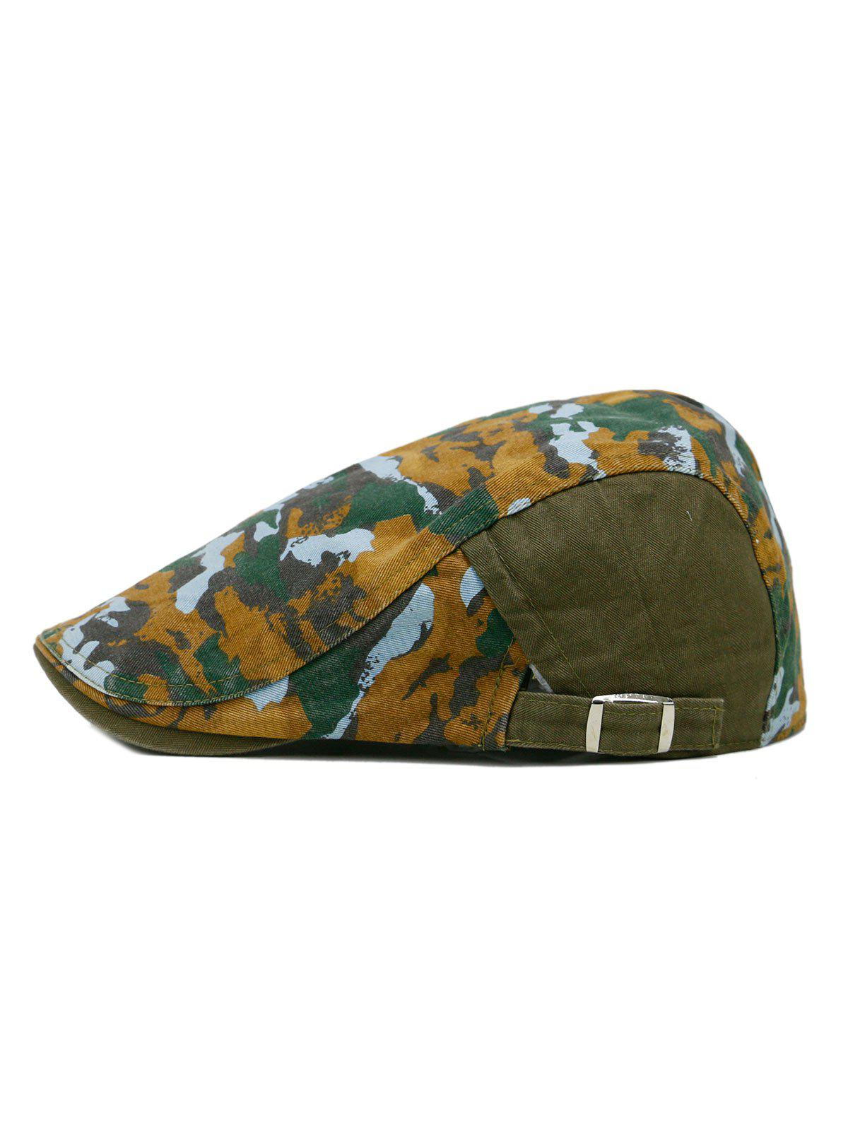 Unique Colored Camouflage Pattern Cabbie Hat - ARMY GREEN