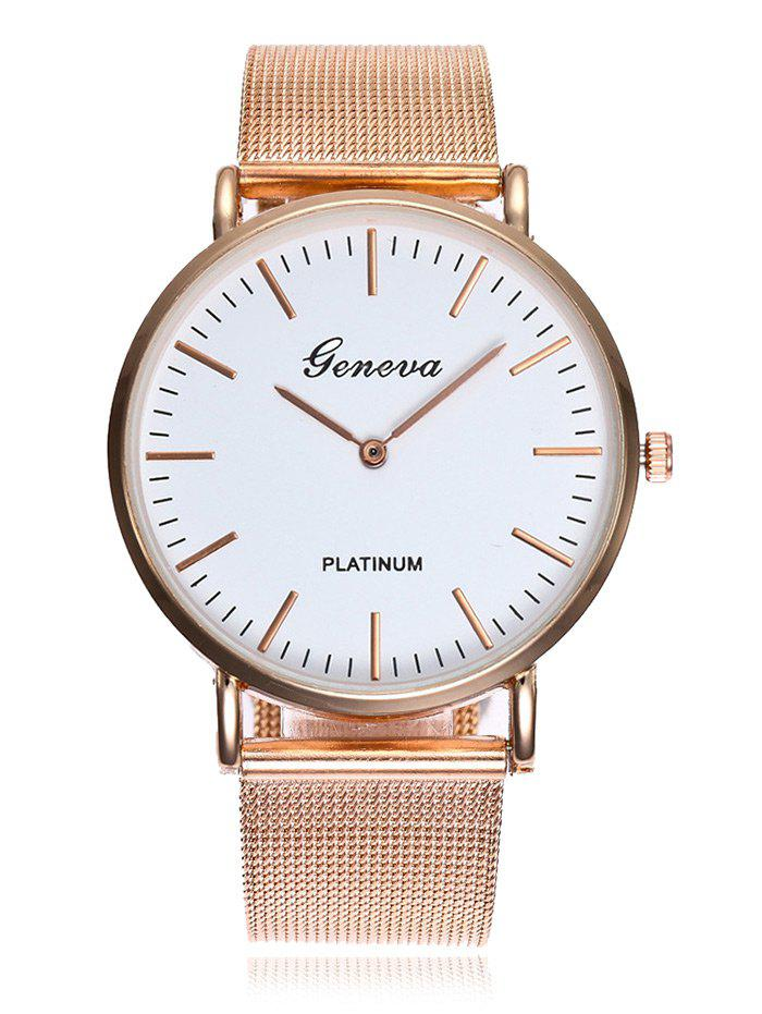 Minimalist Alloy Mesh Band Analog Watch - ROSE GOLD