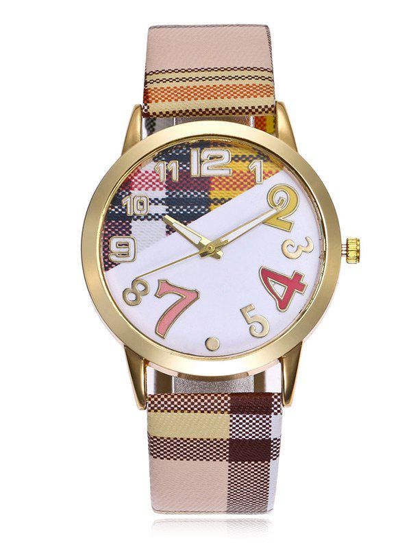 Plaid Print Band Number Watch - BROWN