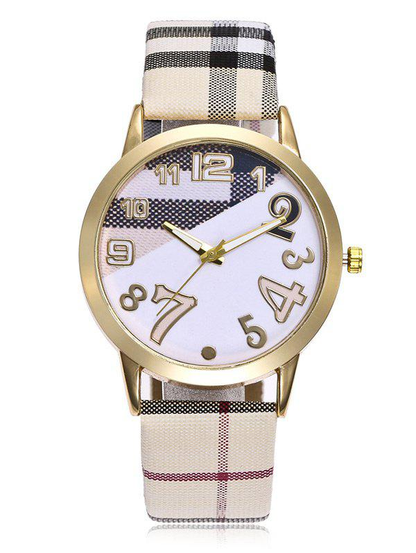 Plaid Print Band Number Watch - BEIGE / WHITE