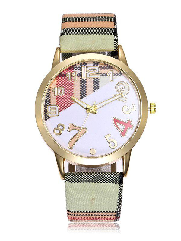 Plaid Print Band Number Watch - LIGHT GREEN