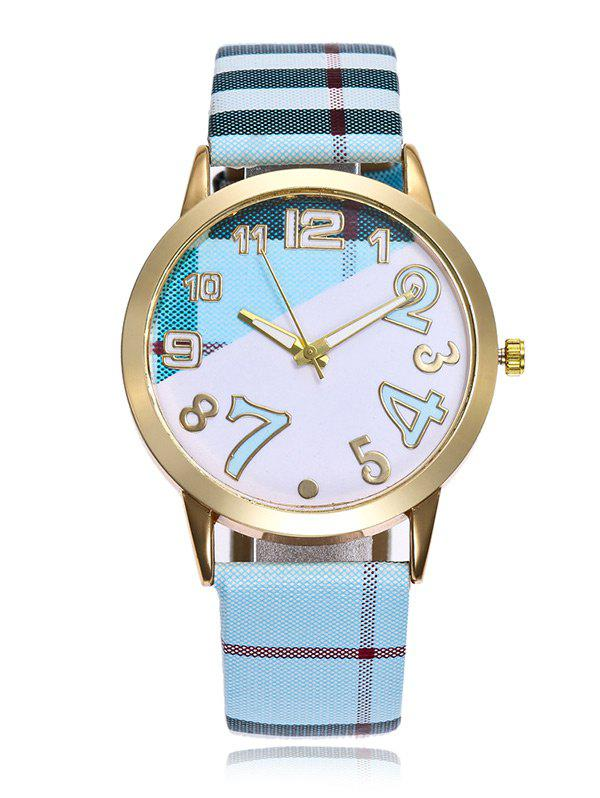 Plaid Print Band Number Watch - BLUE