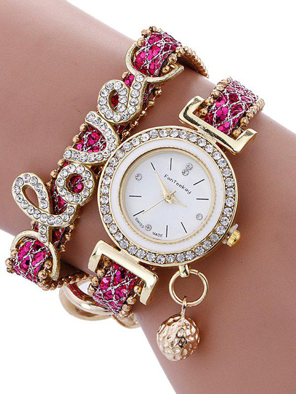 Montre Ronde avec Bracelet à Inscription Love en Strass - Frutti de Tutti