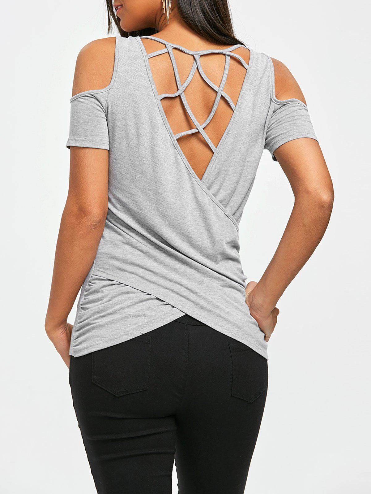 Cold Shoulder Criss Cross Lattice Cut T-shirt ribbed criss cross front cold shoulder t shirt