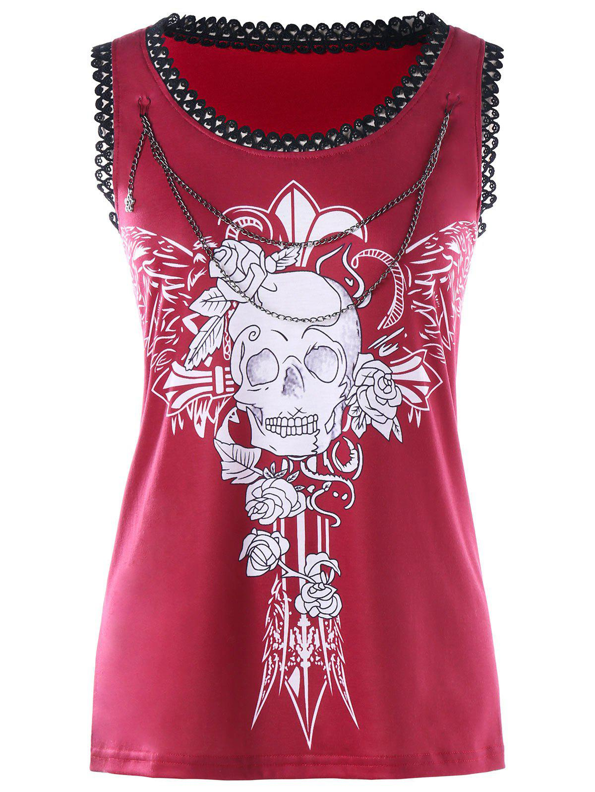 Chains Embellished Wings Skull Tank Top - RED 2XL