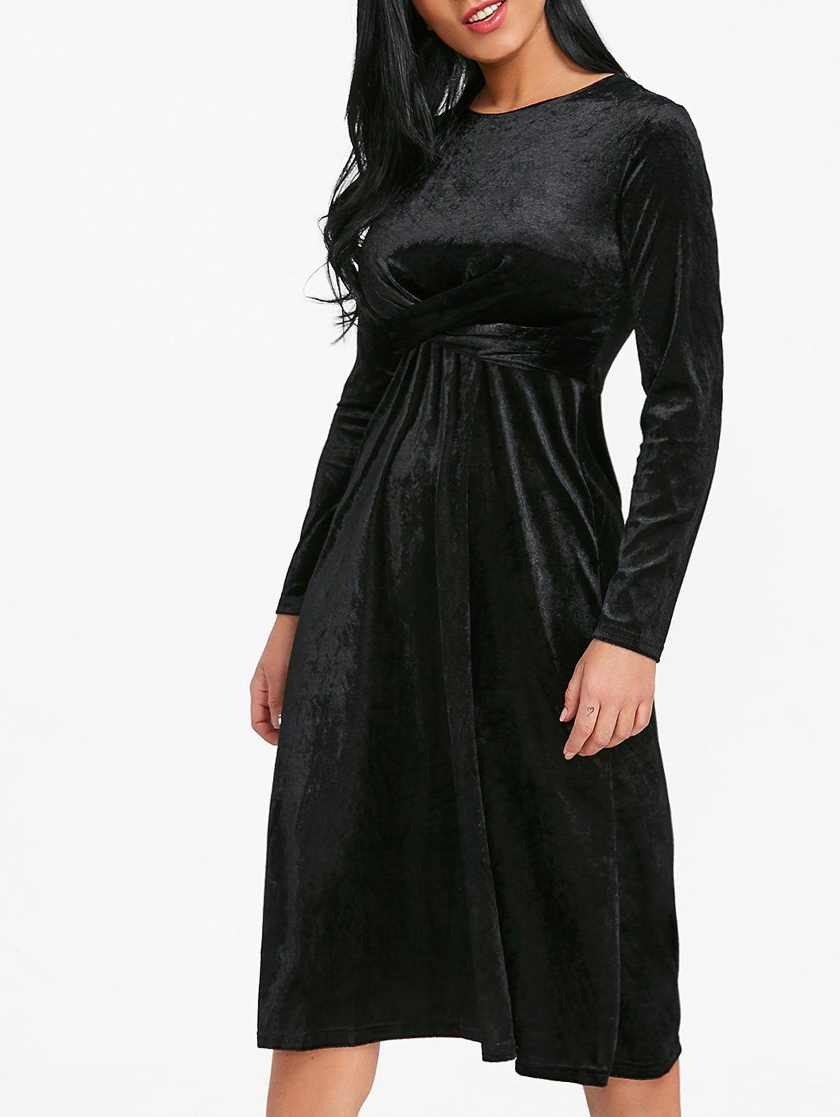Twist Front Velvet Flare Dress - BLACK S