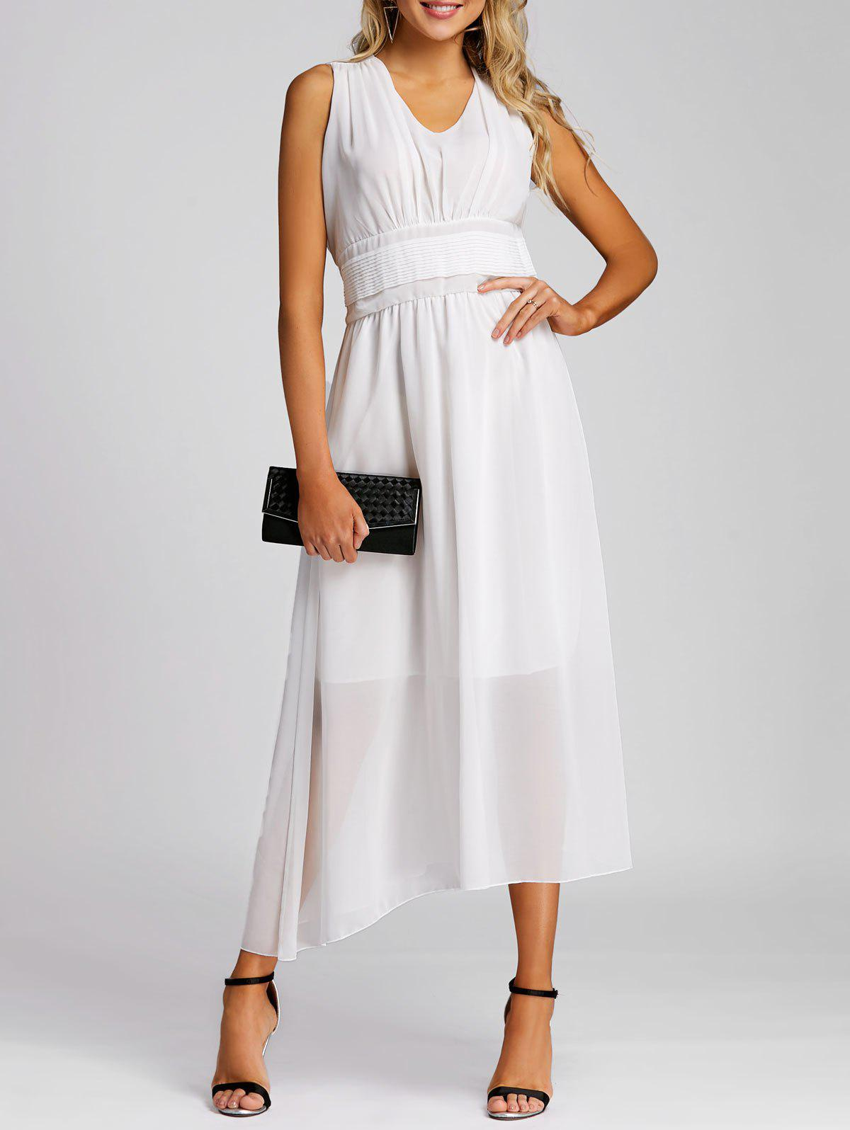Empire Waist Chiffon Midi Dress - WHITE L