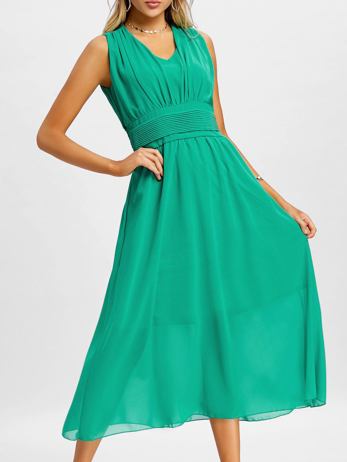 Empire Waist Chiffon Midi Dress - MARINE GREEN S
