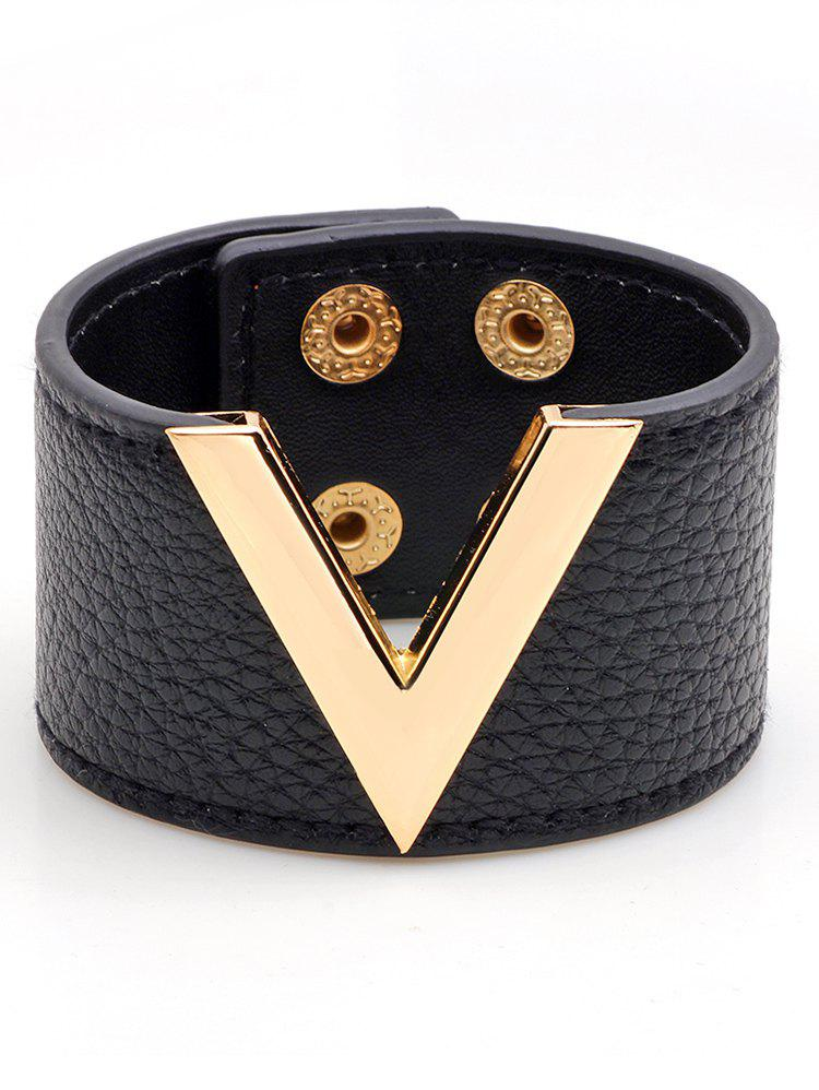 V-Shaped Faux Leather Wide Bracelet - BLACK