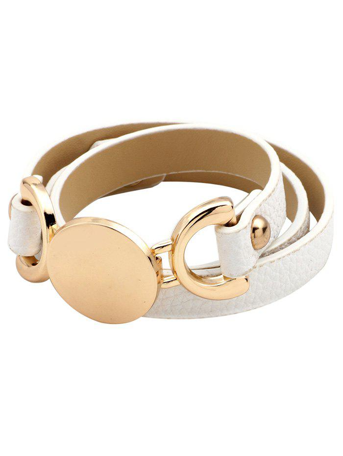 Artificial Leather Disc Wrap Bracelet - WHITE