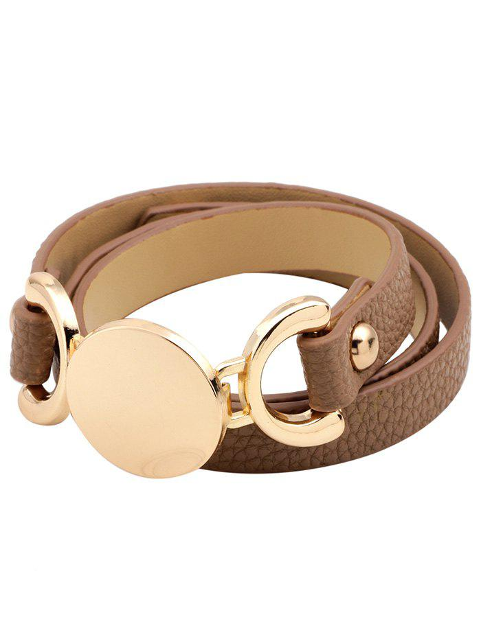 Artificial Leather Disc Wrap Bracelet - KHAKI
