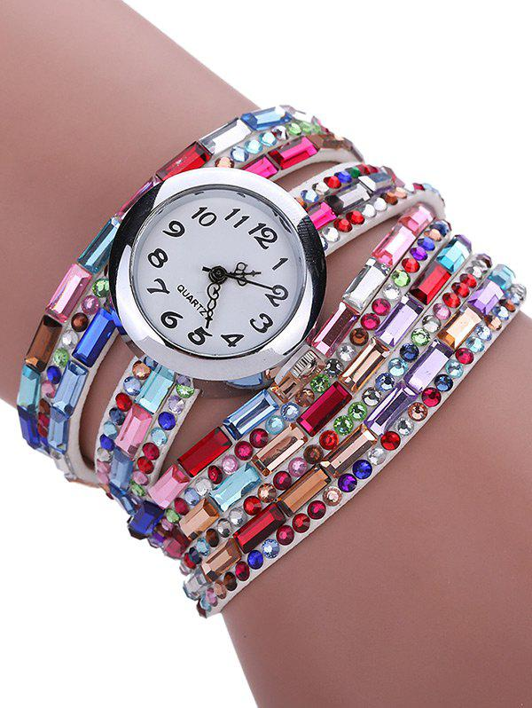 Multi Layers Colorful Rhinestones Bracelet Wrist Watch - WHITE