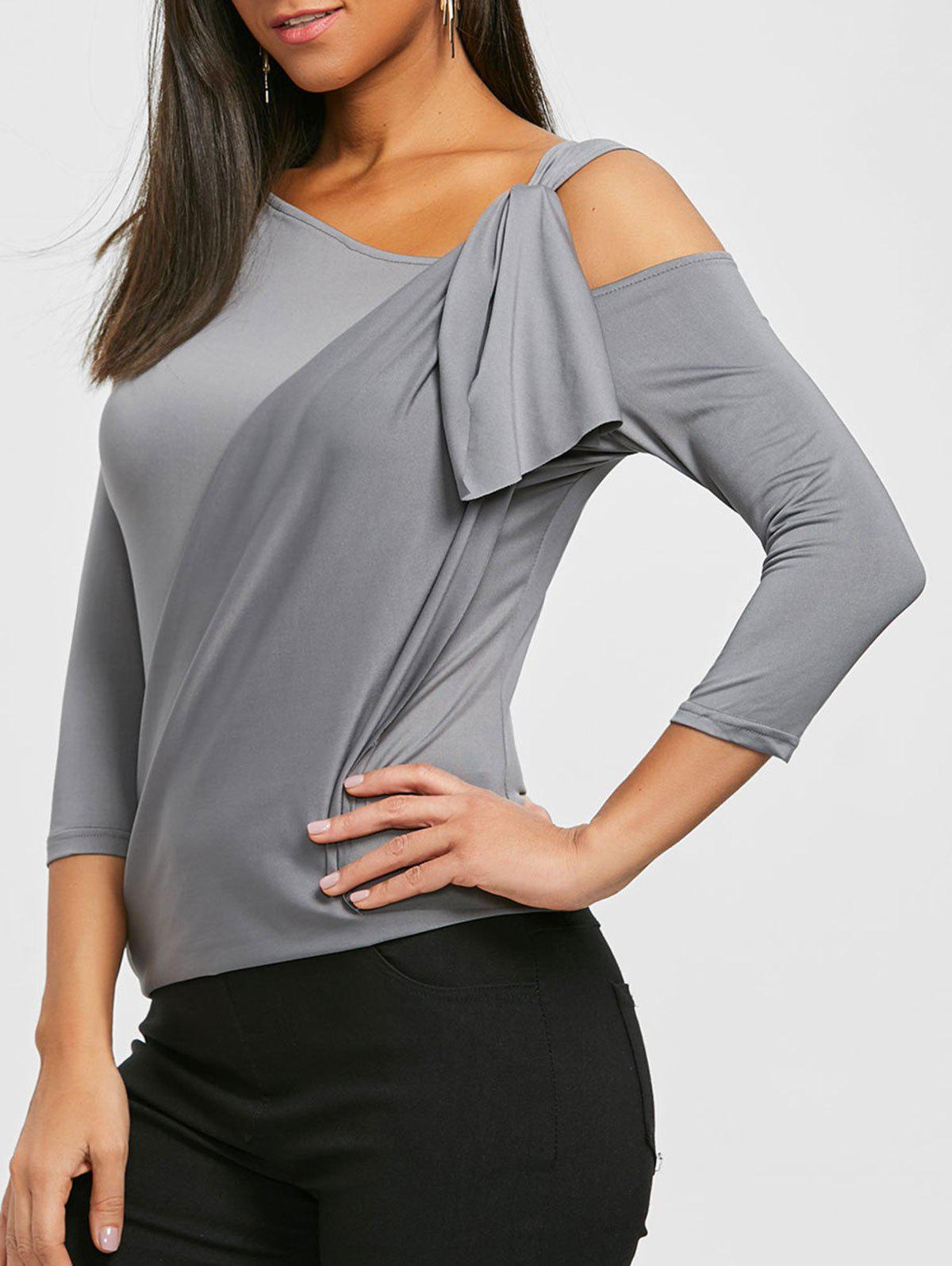 Cold Shoulder Surplice Tee - DEEP GRAY S