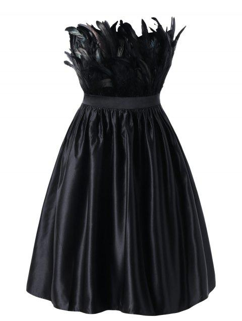 Plus Size Feather Embellished Tube Party Dress - BLACK 2XL