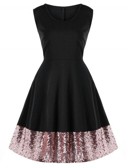 Plus Size Sequin Hem Party Dress - BLACK 4XL