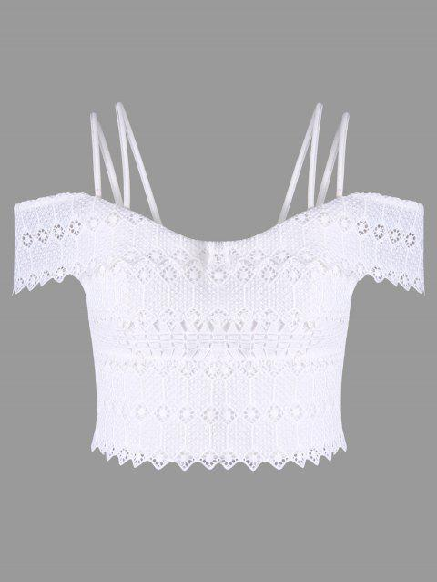 Scalloped Strappy Crop Top - WHITE 2XL