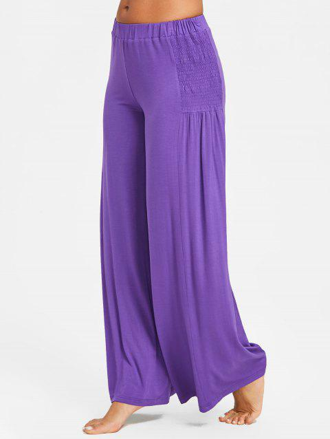 Mid Waist Smocked Palazzo Pants - PURPLE 2XL
