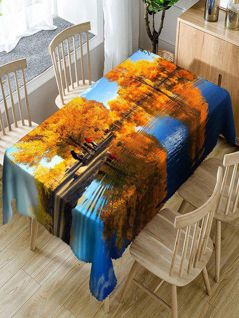 Fall Scenery Fabric Waterproof Table Cloth - COLORMIX W60 INCH * L84 INCH