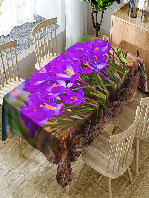 Flowers and Grass Print Waterproof Table Cloth - PURPLE W54 INCH * L72 INCH