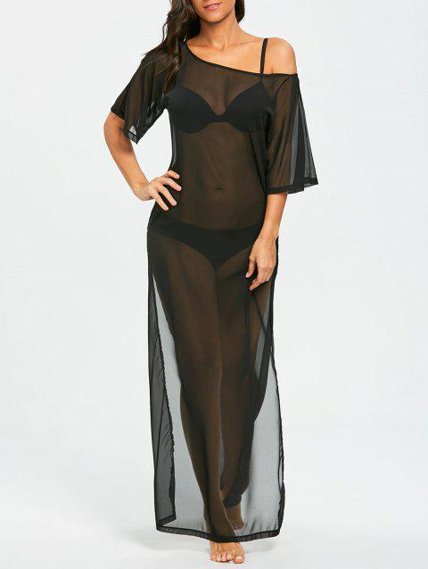 See Thru Chiffon Long Slit Cover Up Dress - BLACK S