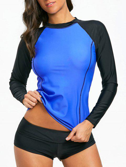 Two Tone Long Sleeve Surf Swim Top - BLUE XL