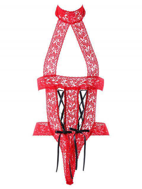 See Through Cutout Lace Backless Bodysuit - RED ONE SIZE