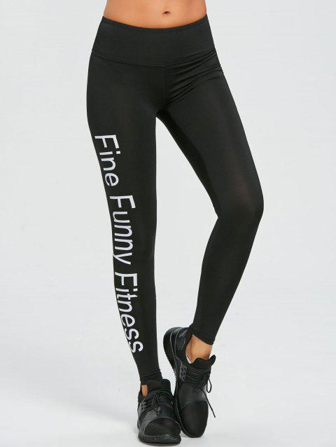 Words Print Exercise Leggings - BLACK XL