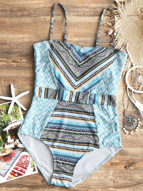 Zig Zag Printed One Piece Swimsuit - COLORMIX S