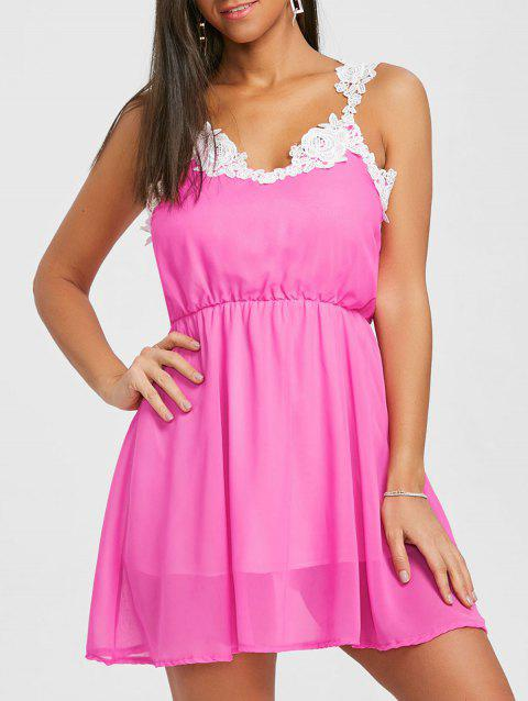 Lace Panel Chiffon A Line Dress - TUTTI FRUTTI M