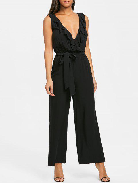Plunge Ruffled Wide Leg Jumpsuit - BLACK M