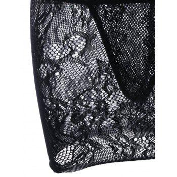 See Through Openwork Lace Exotic Dress - BLACK ONE SIZE