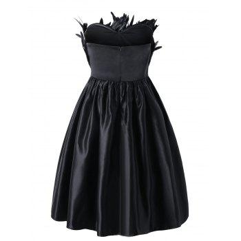 Plus Size Feather Embellished Tube Party Dress - BLACK 3XL