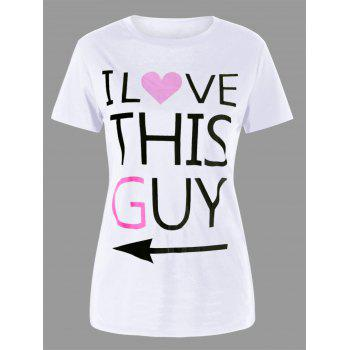 Letter Print Matching Couple Tee - WHITE WOMEN M