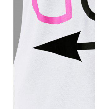 Letter Print Matching Couple Tee - WHITE WOMEN L