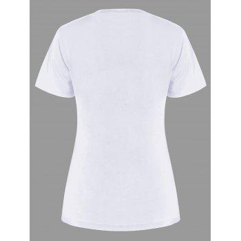 Letter Print Matching Couple Tee - WHITE WOMEN 2XL