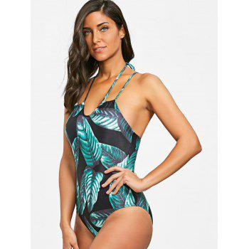 Lace-up Low Back Leaves Print Swimsuit - BLACK/GREEN L