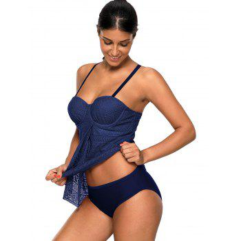 Openwork Flyaway Push Up Tankini Set - CERULEAN L