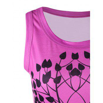 Tree Graphic Scoop Neck Tank Top - PINK L