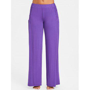 Mid Waist Smocked Palazzo Pants - PURPLE XL