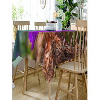 Flowers and Grass Print Waterproof Table Cloth - PURPLE W60 INCH * L84 INCH