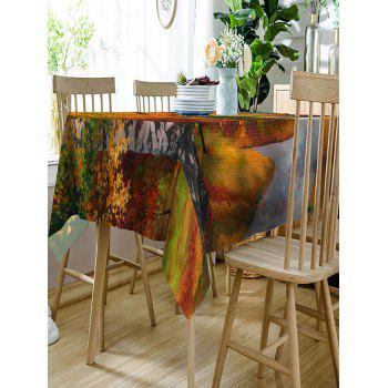 Maple Forest Road Print Fabric Table Cloth - GREEN W60 INCH * L84 INCH