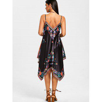 Floral Print Cami Strap Handkerchief Dress - BLACK L
