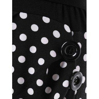 Polka Dot Retro Ruffle Fishtail Dress - BLACK L