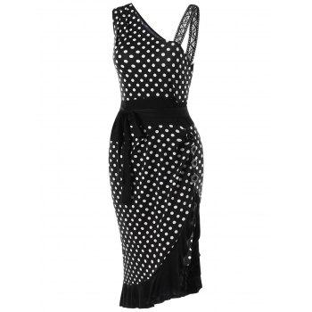 Polka Dot Retro Ruffle Fishtail Dress - BLACK 2XL