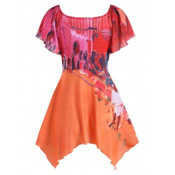 Butterfly Sleeve Oil Painting Blouse - COLORMIX L