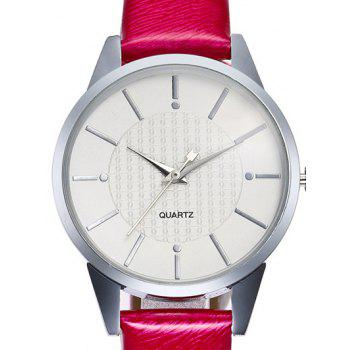 Minimalist Faux Leather Band Analog Watch - RED
