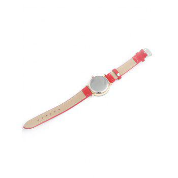 Faux Leather Band Rhinestone Embellished Simple Analog Watch - RED