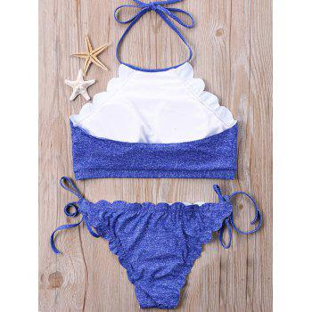 Jeans Printed Halter Neckline Scalloped Bikini - BLUE XL